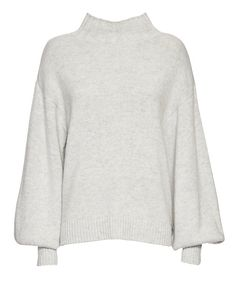 Exclusive for Intermix Blouson Sleeve Knit Turtleneck: Ribbed knit trim at the turtleneck, uneven hemline and blouson long sleeves. In heather grey. Fabric: 70% wool/30% cashmere Made in China. Model Measurements: Height 5'10 1/2; Waist 24 ; Bust 31 wearing size S Length from shoulder to hem: ...