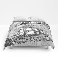 Buy ship on a background map . black and white . keep moving forwar Comforters by vickonskey. Worldwide shipping available at Society6.com. Just one of millions of high quality products available.