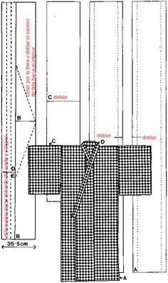 make with scarfs Basic Kimono Pattern. Perfect pattern for handwoven material? Kimono Sewing Pattern, Shoe Pattern, Pattern Drafting, Diy Clothing, Sewing Clothes, Clothing Patterns, Sewing Patterns, Yukata, Sewing Hacks