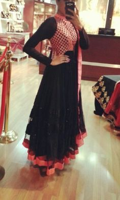 Neon pink and black anarkali by Crossover Bollywood se