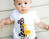 Personalized Giraffe Birthday Party Number T Shirt or Bodysuit ANY NUMBER AVAILABLE