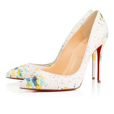 """A variation on a beloved theme, """"Pigalle Follies"""" is our number-one icon, """"Pigalle,"""" refitted with a slightly shorter toe box and a superfine stiletto heel. The effect is an elegant silhouette with a feminine 100mm pitch. In hand painted 'bloom' matte python, she brings a head-turning touch to your look."""