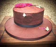 Chocolate painted cake. Rustic birthday cake