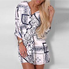 Factory Wholesale Fashion Print Woman Casual Latest Dress Designs Lady Mini…