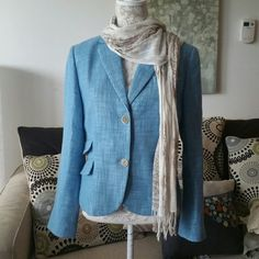 Talbots tweed jacket Beautiful robins egg blue! Double button enclosure. 3 mock pockets. Button down sleeves. Shell is 80% cotton, 20% linen. Lining 100% polyester. Dry clean only. Talbots Jackets & Coats Blazers