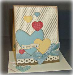 Muliti colored Hearts Handmade Card