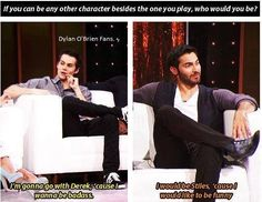 Derek & Stiles each want to be each other!- Teen Wolf… Derek & Stiles each want to be each other! Teen Wolf Dylan, Teen Wolf Cast, Dylan O'brien, Teen Wolf Funny, Teen Wolf Memes, Best Tv Shows, Favorite Tv Shows, Sterek Fanart, Teenage Werewolf