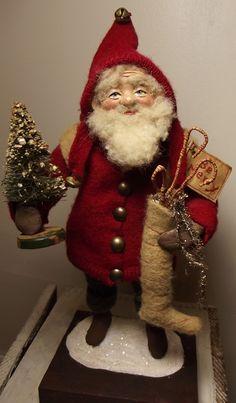 Handmade Little Santa Claus Dressed in Vintage Wools By Kim Sweet~Kim's Klaus~OoAk Vintage Antique Christmas Folk Art Doll
