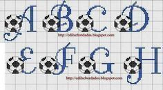 Alphabet with footballs Cross Stitch Letters, Cross Stitch For Kids, Cross Stitch Baby, Embroidery Alphabet, Embroidery Applique, Cross Stitch Embroidery, Le Point, Cross Stitching, Stitch Patterns