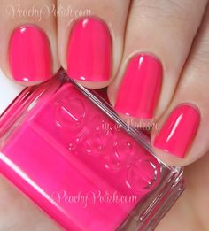 """Essie """"Bottle Service"""" is a bright medium pink jelly that dries with a satin-y finish so I used top coat.  2 coats."""