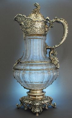 Magnificent silver mounted etched glass claret jug by Gorham, USA
