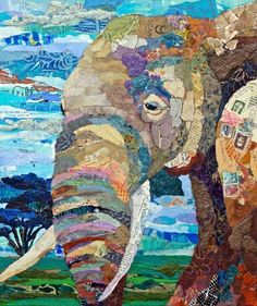 Paper collage elephant by Elizabeth St. Paper Mosaic, Mosaic Art, Paper Collage Art, Magazine Collage, Elephant Art, Elephant Quilt, Ecole Art, Animal Quilts, Art Plastique