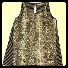 Rachel by Rachel Roy Sequin Top Rachel by Rachel Roy Sequin Top - Worn only once. Size is small but it runs a little big ( a little bit boxy ) the sequins are all intact and the colors are cream, army green. RACHEL Rachel Roy Tops Tank Tops