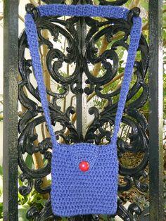 Medium Violet Blue Crocheted Envelope Style Crocheted Purse
