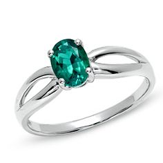 Oval Lab-Created Emerald Split-Shank Ring in 10K White Gold