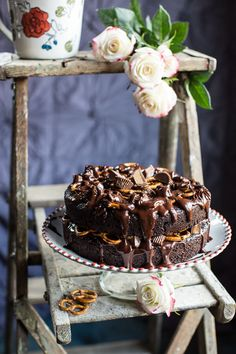"""sweetoothgirl: """" Fudgy One-Bowl Chocolate Peanut Butter Cup Pretzel Cake """""""