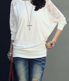 Zanzea Women Loose Batwing Dolman Long Sleeve Lace T-shirt