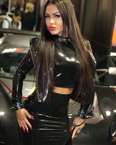 I wonder if she'd like her vagina rubbed with rubber latex gloves while she's wearing these rubber clothes. She looks very horny in this picture, and her hands seem to be enjoying the latex against her body. Latex Costumes, Latex Dress, Sexy Latex, Latex Girls, Latex Fashion, Tight Dresses, Cool Outfits, Mini Skirts, Photos