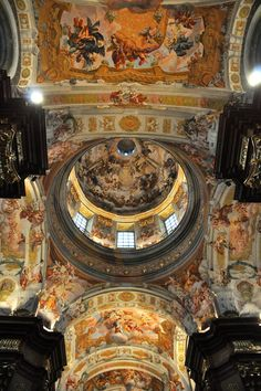 The stunning painted ceiling in Melk Abbey, Austria
