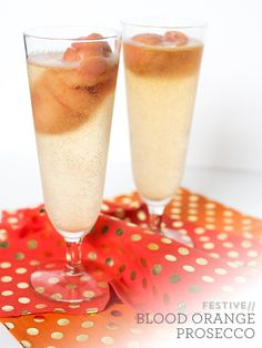 Blood orange cocktail with Prosecco