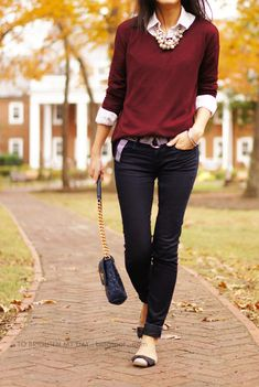 There's nothing more fitting than burgundy sweater, black skinny pants, and comfy flats for a perfect fall day. Add a statement necklace to dress it up!