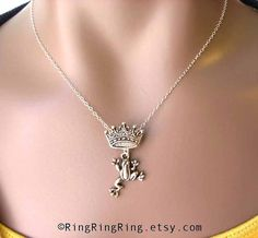 necklace Fairy tale frog prince jumping on crown hangs on sterling silver chain.