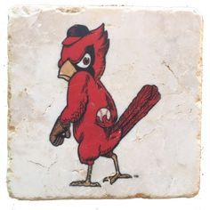 STL Cardinals- Vintage Bird Stone Coaster