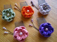 ハナガラスの画像 Ribbon Art, Ribbon Hair Bows, Fabric Ribbon, Ribbon Crafts, Flower Crafts, Satin Flowers, Fabric Flowers, Baby Crafts, Diy And Crafts