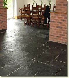 Kitchen Flooring Idea EA29 European Slate With MP38 Meteor Silver Stripping By AmticoR Tile