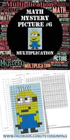 Math Mystery Picture #6 with Multiplication. This a fun way for your students to work on multiplication facts. Your students will enjoy bringing this Minion to life. Please visit my store at TPT for a full preview. $