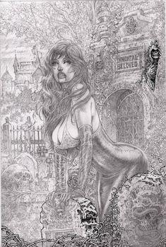 by dynapop on DeviantArt Arte Dc Comics, Bd Comics, Fantasy Kunst, Dark Fantasy Art, Arte Horror, Horror Art, Sexy Drawings, Art Drawings, Serpieri