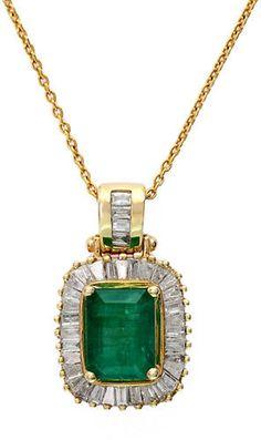 Effy Emerald Diamond And 14K Yellow Gold Pendant Necklace, 0.54 TCW on shopstyle.com