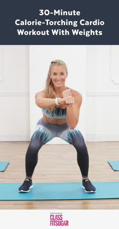 A Kickass Cardio Workout With Weights — Yeah, You're Going to Sweat! A Kickass Cardio Workout With Weights — Yeah, You're Going to Sweat! Hiit, 30 Minute Cardio Workout, Cardio Kickboxing, Fitness Workouts, You Fitness, Fitness Plan, Fitness Hacks, Ab Workouts, Cardio Workout At Home