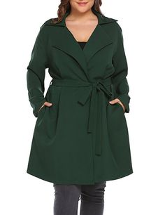 Zeagoo Women's Plus Size Notch Lapel Long Sleeve One Button Casual Trench Coat with Belt Weekly Outfits, Curvy Outfits, Plus Size Outfits, Cool Outfits, Plus Size Fashion Tips, Fashion Tips For Women, Curvy Plus Size, Plus Size Model, Petite Models