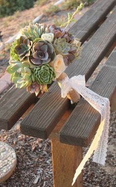 Succulent and white rose bouquet for a lovely bride.  Inquire us for pricing! #burlap #lace  Visit us @ one of our online Stores www.thesucculentsource.com http://www.etsy.com/shop/SANPEDROCACTUS http://www.etsy.com/shop/THESUCCULENTSOURCE www.SayIDoSucculents.com our strictly Succulent Wedding Shop! and www.gotcacti.com for your cactus needs!  and check out our Facebook page for our latest succulent and cactus news, pics and specials https://www.facebook.com/thesucculentsource