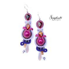 Soutache earrings in violet lilac purple. Soutache by Sengabeads