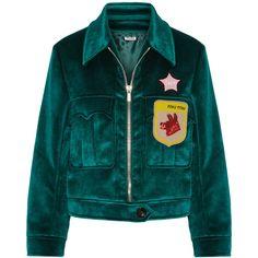 Miu Miu Appliquéd velvet bomber jacket (€2.095) ❤ liked on Polyvore featuring outerwear, jackets, emerald, green flight jacket, beaded jacket, blouson jacket, embellished jacket and bomber jackets