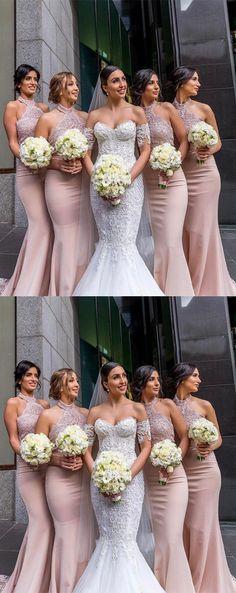 Elegant Mermaid Long Bridesmaid Dress with Lace#dress #fashion #style