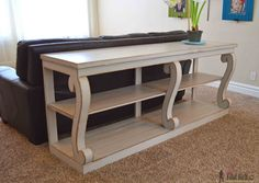 Ana White | Build a Featuring Her Tool Belt - Scroll Legged Console | Free and Easy DIY Project and Furniture Plans