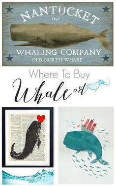 where to buy whale art for beach and coastal inspired home decorating. Theme decor.