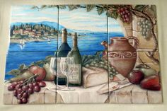 Bella Vista - Tile Mural Digitally reproduced for tiles and depicts a wine scene with fruit and bread with a water background. Our decorative tiles with wine are perfect to use for your kitchen backsplash tile project. A wine tile mural adds elegance and interest to your kitchen wall tile area and makes a wonderful kitchen backsplash idea.