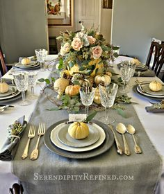 Serendipity Refined: Rustic Gray and White (and Pink) Thanksgiving Table Decor