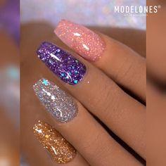 Purple Glitter Nails, Pink Nail Art, Sparkle Nails, Glitter Nail Polish, Summer Acrylic Nails, Best Acrylic Nails, Bling Nails, Nail Art Designs Videos, Nail Art Videos