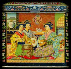 Dutch japonesque tea tin decorated with scene of kimono-clad women musicians in Japanese teahouse, c. 1910, litho tin