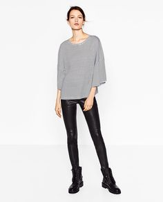 TOP WITH RUFFLED SLEEVES - View all-T-SHIRTS-WOMAN   ZARA United States