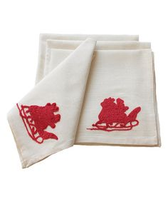 Love this Santa Embroidered Napkin - Set of Four on #zulily! #zulilyfinds