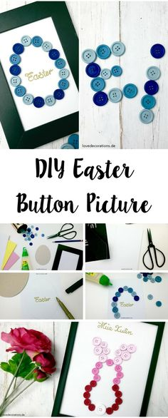 Step by Step Tutorials DIY button picture Easter pictures - Easter / spring / wall decoration Button Crafts For Kids, Easter Crafts For Kids, Easter Presents, Easter Gift, Love Decorations, Button Decorations, Easter Pictures, Button Cards, Diy Ostern