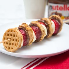 This waffle kebab with Nutella gets better with every bite. Toast up some mini waffles and spread with Nutella. Stack on a kebab with fruit for a great snack.