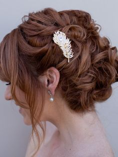 curly wedding updo with feather comb - Google Search