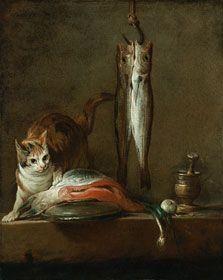Chardin Bodegón con gato y pescado 1728 Óleo sobre lienzo. 79,5 x 63 cm Museo Thyssen-Bornemisza, Madrid